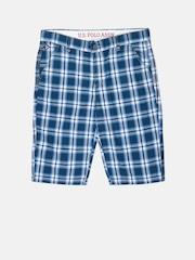 U.S. Polo Assn. Kids Boys Blue Checked Shorts
