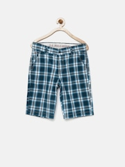 U.S. Polo Assn. Kids Boys Blue Checked Regular Fit Shorts