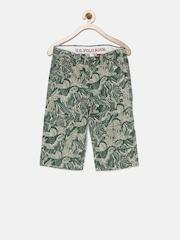 U.S. Polo Assn. Kids Boys Green Printed Regular Fit Shorts