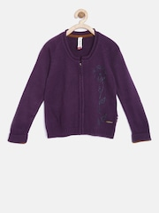 U.S. Polo Assn. Kids Girls Purple Patterned Cardigan