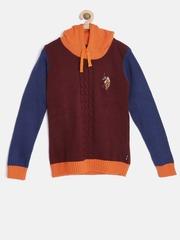 U.S. Polo Assn. Kids Girls Maroon Colourblocked Hooded Sweater