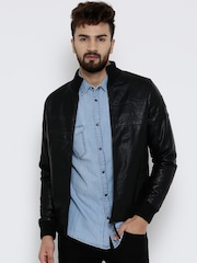 Pepe Jeans Black Faux Leather Bomber Jacket