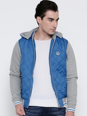 Pepe Jeans Blue Colourblocked Bomber Jacket with Detachable Hood