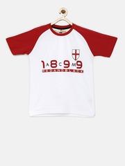 YK Boys White & Red Printed Round Neck T-shirt