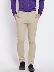 John Players Men Beige Solid Skinny Chino Trousers