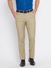 John Players Men Beige Solid Slim Flat-Front Formal Trousers
