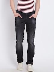 John Players Men Black Slim Low-Rise Clean Look Jeans