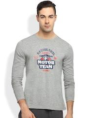 2GO Men Grey Melange Printed Round Neck T-Shirt