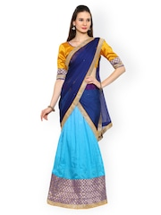 Moiaa Blue Semi-Stitched Lehenga Choli with Dupatta