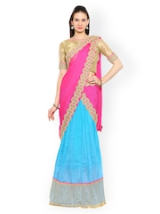 Moiaa Blue & Off-White Semi-Stitched Lehenga Choli with Dupatta