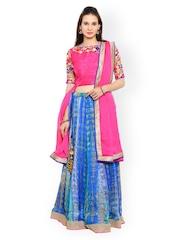 Moiaa Pink & Blue Semi-Stitched Lehenga Choli with Dupatta