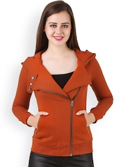 Texco Rust Orange Hooded Bomber Jacket