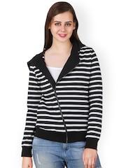 Texco Black & White Striped Hooded Jacket