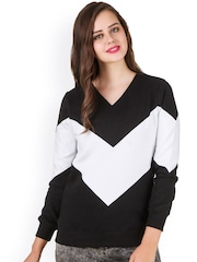 Texco Black & White Colourblocked Sweatshirt