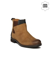 Ruosh Men Brown Solid High-Tops Suede Flat Boots