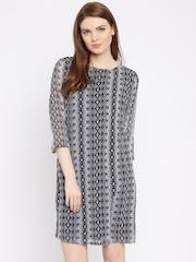 Van Heusen Woman Black & Grey Printed Shift Dress