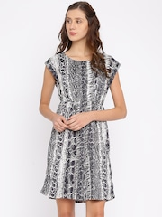 Van Heusen Woman Black & Off-White Printed A-Line Dress