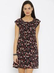 Van Heusen Woman Black Printed Fit & Flare Dress