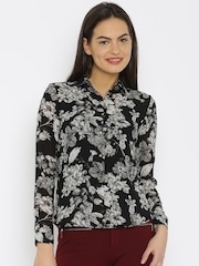 Van Heusen Woman Women Black Printed Casual Shirt