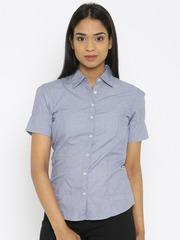 Van Heusen Woman Women Blue Solid Formal Shirt