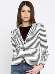 ONLY Black & White Striped Single-Breasted Blazer