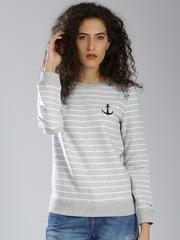 Tommy Hilfiger Grey Melange & White Striped Sweatshirt