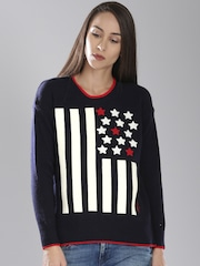 Tommy Hilfiger Navy Blue & White Sweater