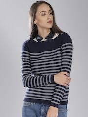 Tommy Hilfiger Navy & White Striped Sweater