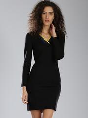 Tommy Hilfiger Women Black Solid Sheath Dress