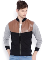 Campus Sutra Black & Brown Colourblocked Bomber Jacket