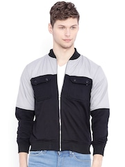 Campus Sutra Black & Grey Colourblocked Bomber Jacket