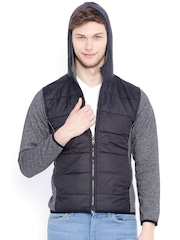 Campus Sutra Black & Charcoal Grey Hooded Bomber Jacket