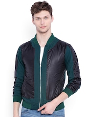 Campus Sutra Black & Green Colourblocked Bomber Jacket