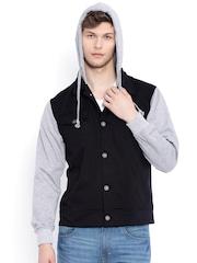 Campus Sutra Black & Grey Hooded Jacket