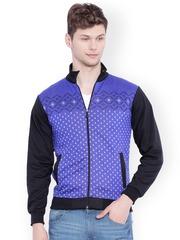 Campus Sutra Blue Patterned Sweatshirt