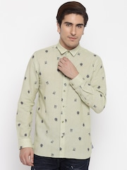 Jack & Jones Beige Printed Slim Casual Shirt
