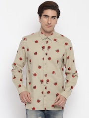 Jack & Jones Men Beige Printed Casual Shirt