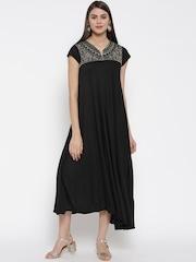 Biba Women Black Embroidered Yoke A-Line Dress