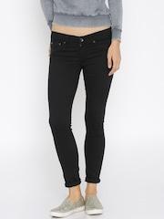 Pepe Jeans Women Black Skinny Fit Low-Rise Clean Look Jeans