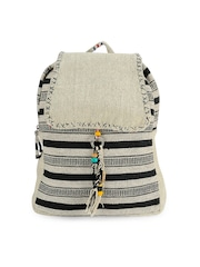 The House of Tara Unisex Off-White & Black Striped Backpack