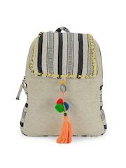 The House of Tara Unisex Off-White & Black Striped Backpack