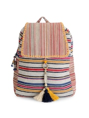 The House of Tara Unisex Multicoloured Striped Backpack