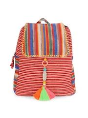 The House of Tara Unisex Multicoloured Striped Backpack