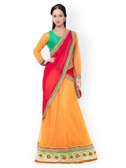 Triveni Yellow & Pink Net & Satin Semi-Stitched Lehenga Choli with Dupatta
