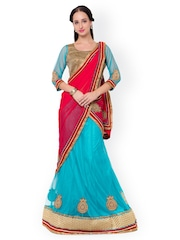 Triveni Blue & Pink Net & Satin Semi-Stitched Lehenga Choli with Dupatta