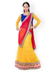 Triveni Yellow & Pink Embellished Net & Satin Semi-Stitched Lehenga Choli with Dupatta