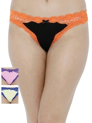 PrettySecrets Women Pack of 3 Lace Thong Briefs PS0916SPNLTHG3