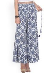 Varanga Women White Printed Regular Fit Palazzo Trousers