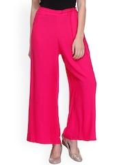 Varanga Women Pink Solid Regular Fit Palazzo Trousers