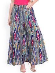 Varanga Women Blue Printed Regular Fit Palazzo Trousers